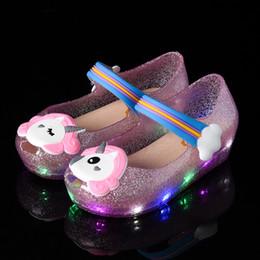 ae60479ebb76 Unicorn kids girls sandals Shoes Jelly LED night light glitter powder Shoes  slippers little horse Sandal slides toddler bay Non-slip Cartoon