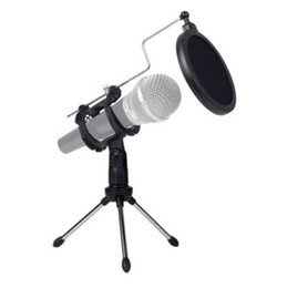 Wholesale Universal Foldable Adjustable Microphone Stand Desktop Tripod For Computer Video Recording with Mic Windscreen Pop Filter Cover