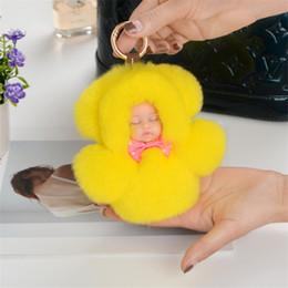 $enCountryForm.capitalKeyWord NZ - 11cm Cute Sleeping Baby Hat Doll Key Chain Real Rex Rabbit Fur Keychain Fluffy Pom Pom Keyring Bag Car Trinket Women Gift 6C0086