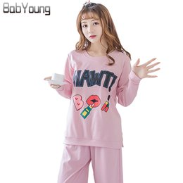 9131894c27 BabYoung 2017 Autumn Women Pajamas Set Cotton Pyjamas Femme Cartoon Long  Sleeve Pijamas Mujer Sleepwear Female Plus Size 5XL