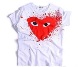 Great standards online shopping - 2018 Japanese tide brand red heart black heart kanyeus great love round collar short sleeved T shirt