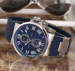Chinese  New Ulysse Marine Maxi 263-67-3 43 Steel Case Blue Dial Date Power Reserve Automatic Mens Watch Blue Rubber Strap Sports Watch 8 Colors UN87 manufacturers