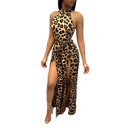 Wholesale Sexy Leopard Print Jumpsuit New Hot Women Sleeveless High Slit Long Pants Slim Fit Rompers Overalls