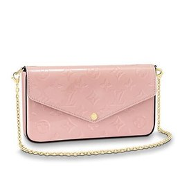 Chain Longer Australia - M64358 POCHETTE FÉLICIE Patent leather pink Real Caviar Lambskin Chain Flap Bag LONG CHAIN WALLETS KEY CARD HOLDERS PURSE CLUTCHES EVENING