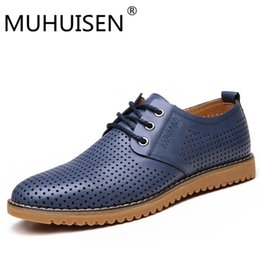 Wholesale MUHUISEN Genuine Leather Men casual shoes Breathable Soft Driving Men s Handmade chaussure homme Net Surface Loafers size
