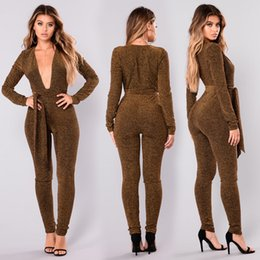 $enCountryForm.capitalKeyWord Canada - Women XXL Shiny High Waist Slim Sexy V-neck Jumpsuit Casual Rompers Long Sleeve Lace Up Female Jumpsuits Spring Summer New
