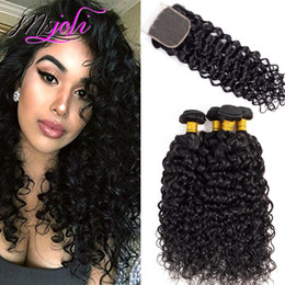 Wet curly closure online shopping - Indian Virgin Hair Lace Closures With Bundles Indian Water Wave Wet And Wavy Natural Color Human Hair Weaves inch From Ms Joli