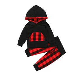 $enCountryForm.capitalKeyWord Australia - New Casual Newborn Toddler Kids Baby Girl Boy Clothes Hoodies Plaid Tops T shirt + Long Pants Outfits Set