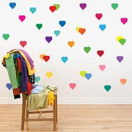Pattern Decor Australia - 24pcs set removable rainbow color love hearts peach pattern labels sticker for home decor