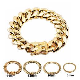 8 10 12 14 16 18mm 316L Stainless Steel Hip Hop Bracelets High Polish Miami Cuban Link Men Women Punk Curb Chain Butterfly Clasp on Sale