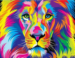 3d embroidery stitch NZ - 2018 3D Diamond Painting Cross Stitch Colorful Lion Rhinestone Crystal Needlework Diamond Embroidery Full Diamond Decorative
