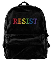 cute girl backpacks for college Canada - Resist Pride Rainbow Canvas Shoulder Backpack Cute Sports Backpack For Men & Women Teens College Travel Daypack Black