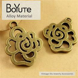 Antique Bronze Charm Pendant Rose Australia - BoYuTe (40 Pieces Lot) 22*27MM Antique Bronze Plated Metal Hollow Rose Flower Charm Pendants for Jewelry Findings Components Diy Bracelets