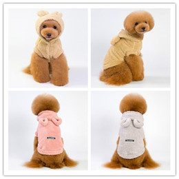 Bear ear clothes online shopping - 5 Size dog costume cute bear ear pet clothes double faced pile teddy poodle autumn winter warm dog apparel color