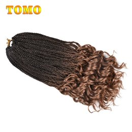 burgundy purple hair extensions 2019 - Crochet Braids Mix Black Brown Synthetic curly Ends Box Braid For Black White Woman Ombre Crochet Braiding Hair Extensio
