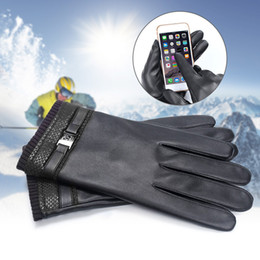 Leather Motorcycle Gloves Wholesale NZ - Men PU Leather Touchscreen Gloves Windproof Winter Gloves Black Warm Glove Motorcycle Lining Fleeve Golves FS99