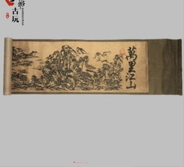landscape blocks UK - Old Chinese Silk paper Painting Vast Territory Landscape Scroll Painting