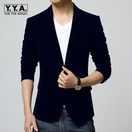 Discount navy blue skinny suit - Top Men Winter Autumn M-4XL Men Blazer Slim Fit Navy Red Black Colors Slim Fit Suit Black Velvet Blazer Free Shipping