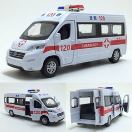 Wholesale High quality high simulation alloy pull back car Ford ambulance open door metal model cars toy