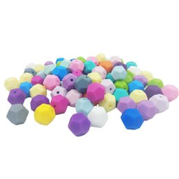$enCountryForm.capitalKeyWord Canada - Pentagon Beads Silicone Baby Teething Toy DIY Baby Chew Necklace Pacifier Clip Loose Beads Food Grade Nursing Teether Accessory Colorful