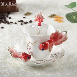 $enCountryForm.capitalKeyWord Canada - 3D Goldfish Coffee Cup Set Enamel Porcelain Tea Milk Cup Bone China Cups Creative Ceramic European Drinkware