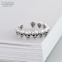 Sterling Silver Skull Women Canada - whole saleFYSARA enuine 925 Sterling Silver Skull Ring Biker Punk Skeleton Face Finger Rings for Women Jewelry Anel Halloween Gift