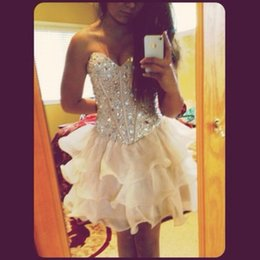 $enCountryForm.capitalKeyWord Australia - Short High Neck Elegant Homecoming Dresses Girl's Fashion Ruffle Beading Bridal Gown Special Occasion Prom Bridesmaid Party Dress 17LF982