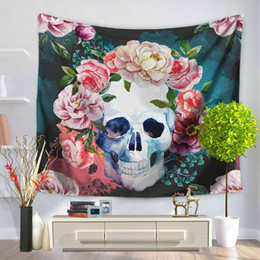Wall Curtains NZ - European Style Skulls Tapestry Digital Printing Wall Hanging Polyester Throw Picnic Pads Door Curtain Home Decor Bedspread Beach Blanket