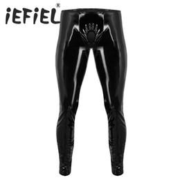 199eb7162ae576 IEFiEL Mode Sexy Herren Dessous Shiny Lackleder Engen Hosen Leggings Hosen  mit Offenen Penis Loch für Clubwear Kleidung