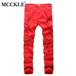 Discount male club wear - MCCKLE Men's New Style Fashion Ripped Jeans Male Slim Fit Knee Zippers Straight Pants Men Club Wear Bright Color De