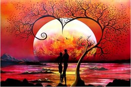 """Impressionist Tree Paintings NZ - Full Square Round Drill 5D DIY Diamond Painting """"Couple under the tree"""" Embroidery Cross Stitch Mosaic Home Decor Art Experience toys Gift"""