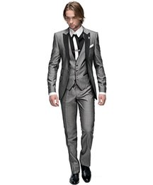 bridegroom custom jacket UK - Hot Sale 3 Pieces Mens Suits Custom Made Groom Tuxedos Groomsmen Best Men Suit Bridegroom Mens Suits For Wedding (Jacket+Pants+Vest)