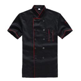China free shipping New High Quality Black Restaurant Hotel Chef Jacket Short-sleeve Cook Suit Man Woman Work Wear Uniform Coat Food Services suppliers