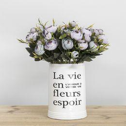 $enCountryForm.capitalKeyWord UK - Fashion DIY Handmade Artificial Flowers Tea Rose Room Office Flower Potted 6 Fork Snow Flower Head Ornament Factory Direct Selling