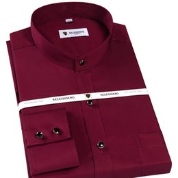 herrenhemden großhandel-Herren Langarm Banded Collar Solid Dress Shirt mit Tasche Comfy Soft Baumwolle Formale Männer Business Regular Fit Shirts