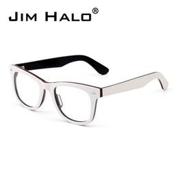 20a47ee2bf Jim Halo Unisex Vintage Nerd Clear Lenses Square Glasses Spring Hinge Non- prescription Optical Frame for Men Women