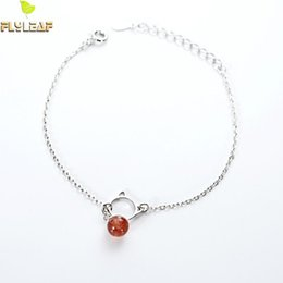 Bracelets for cats online shopping - Flyleaf Sterling Silver Strawberry Crystal Cute Cat Charm Bracelets For Women Simple Lady Jewelry Gift
