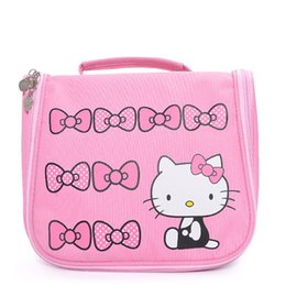 d3030c8b9b5c0 Hello Kitty Woman Cosmetic Bags Girls Cartoon Travel Toiletry Canvas  Pattern Necessary Organizer Makeup Bag Storage Beauty Bags