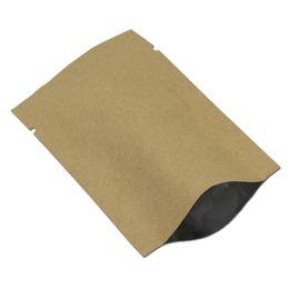 $enCountryForm.capitalKeyWord Australia - 300 Pcs Brown Kraft Paper Aluminum Foil Flat Bag Open Top Heat Seal Vacuum Pouches Packaging Tea Candy Snack Pack 11 Sizes
