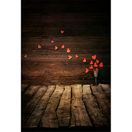 photography background hearts 2019 - Red Love Hearts Printed Wooden Wall Photography Backdrops for Baby Newborn Valentines Day Kids Children Photo Shoot Back