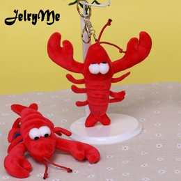 wholesale personalized purses 2019 - Personalized Cute Red Crayfish Keychain For Female Perfume Plush Car Keyrings Charms Women Purse Bag Pendant Key Chains