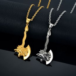 Discount gold axe - Mens Pendant Necklace Gold Color Stainless Steel Chain Zodiac Dragon Axe Charm Fashion Animal Male Pendants Jewelry N838