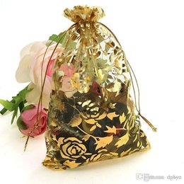 Organza vOile gift packaging bags online shopping - pc X12cm Gold Rose Color Christmas Bags Wedding Drawable Organza Voile Gift Packaging Bags Cheap Pouches Bags