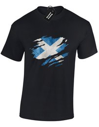 Wholesale SCOTLAND FLAG SLASH MENS T SHIRT SCOTTISH FOOTBALL RUGBY FAN GIFT IDEA COLOUR Funny Unisex Casual gift