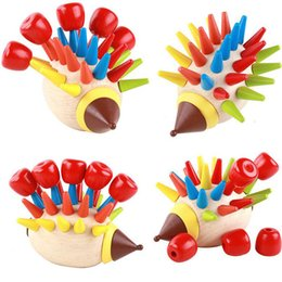 Knock Toy NZ - Bricks Toys DIY Magnetic Colorful Hedgehog Knocked Toys Wooden Building Blocks Children Early Childhood Education Toys MT45