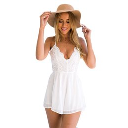 7cbe10d7700 Lace Crochet Jumpsuit Rompers With Shorts Backless Spaghetti Strap Beach  Playsuit White Solid Sexy Overalls Chiffon Top 40%W