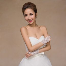 White summer gloves online shopping - Bride Wedding Dress Glove Short Lace Drill Toast Suit Cheongsam Pure Color Show Ceremony Party Decorate Gloves yh ff