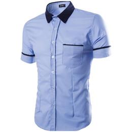 Mens Blue Hawaiian Shirt Canada - Men Shirt 2017 Summer Mens Slim Fit Stylish Dress Short Sleeve Shirts Mens Dress Shirts Chemise Homme Slim Fit Hawaiian XXL