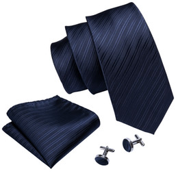 Solid Navy Blue Ties NZ - Navy blue Silk Jacquard Ties For Men With Handkerchief And Cuffs Business Wedding Hot New Listing Wholesale Free Shipping N-5087