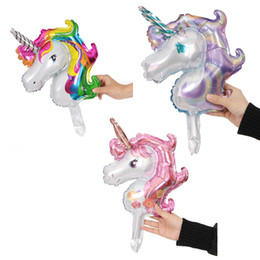 $enCountryForm.capitalKeyWord Australia - Cheap Aluminum Foil Stick Balloon 51*32cm for Birthday Party Cartoon Unicorn balloon rainbow polly Inflatable Ballon Gifts